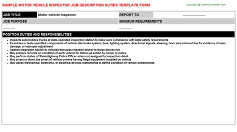 Vehicle Inspector Cover Letter by Description Sle For Motor Vehicle Inspector