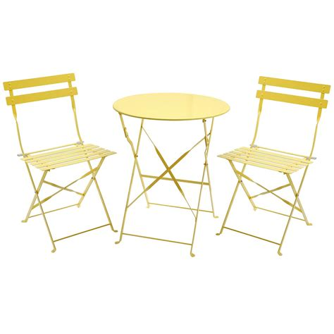 Yellow Bistro Table And Chairs Charles Bentley Folding Metal Bistro Set Buydirect4u