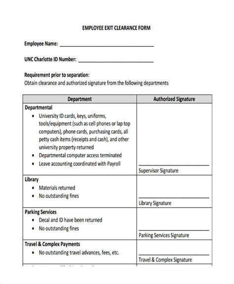 clearance form exit clearance form 6 free documents in word pdf