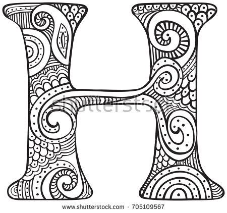 H Coloring Pages For Adults by Capital Letter Black Coloring Stock Vector