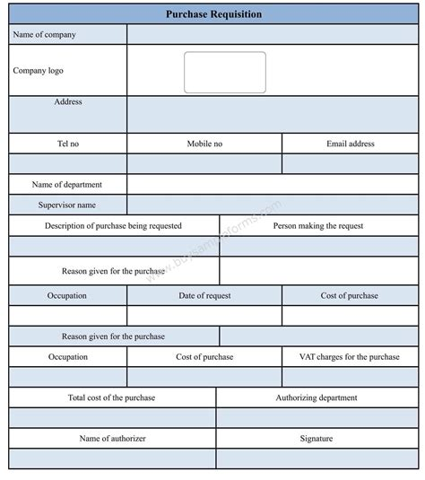 purchase requisition form template doc sle forms