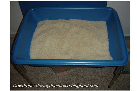 Rice Table by Dewdrops Tot School Sensory Activity Alphabet Rice