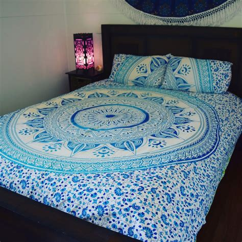 Blue Quilt Cover Blue White Ombre Medallion Circle Duvet Cover Set With 2