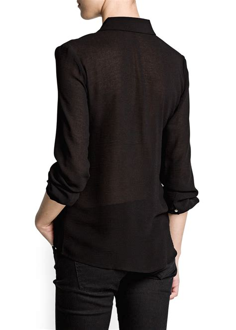 Sleeved Chiffon Shirt lyst mango sleeve chiffon shirt in black