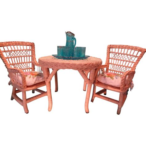 american doll table and chairs american doll furniture rattan table and two chairs