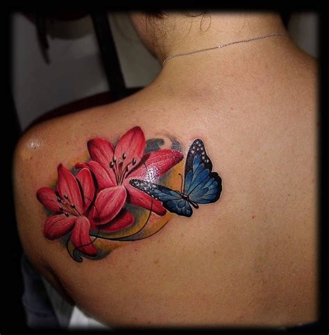 lily and butterfly tattoo designs flower tattoos page 2