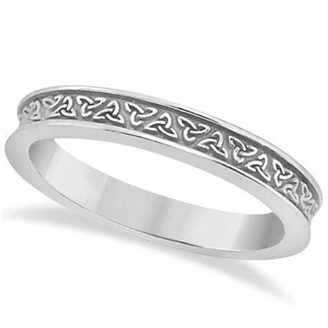 carved celtic engagement ring wedding band set