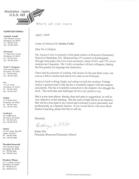 Recommendation Letter For Elementary Principal Reference Letter 1 Elementary And Esl Helping Students Grow