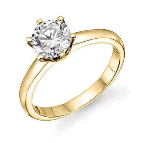 Rhinestone Ring Gold simple classic gold color solitaire rhinestone engagement