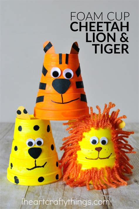 adorable foam cup tiger craft i heart crafty things