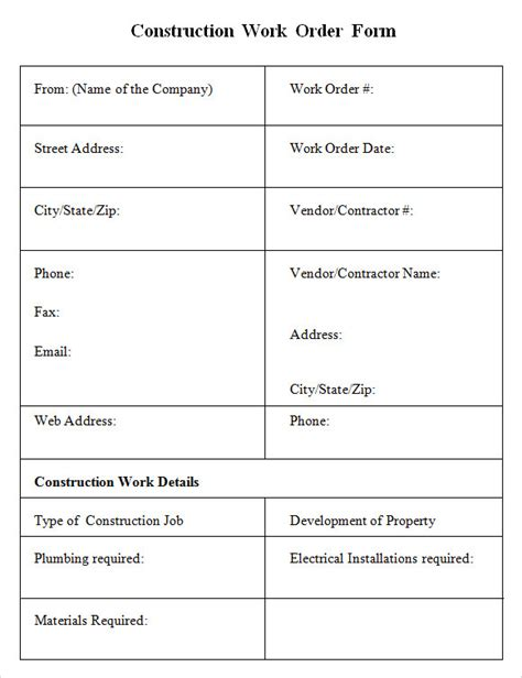Construction Work Order Template 6 Sle Construction Work Order Forms Pdf Sle Templates