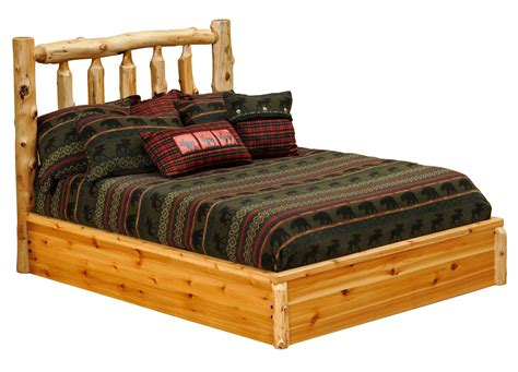 cedar log bed cedar king platform bed from fireside lodge 10010 pf