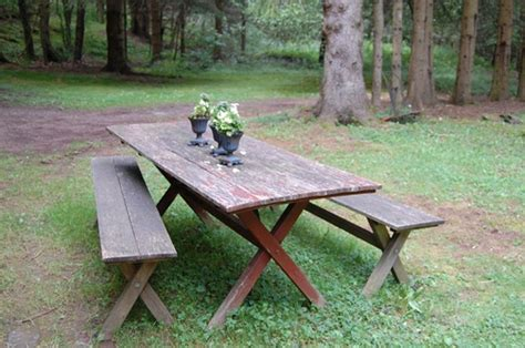 picnic tables with separate benches pin by lisa woods on home style pinterest