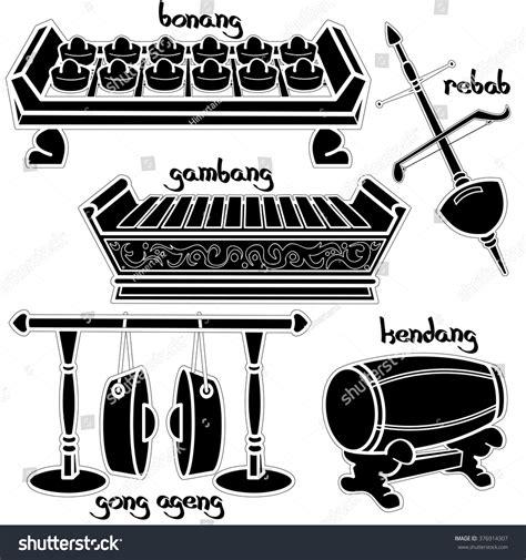 gamelan layout set hand drawn traditional indonesian musical stock vector