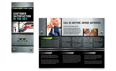 Locksmith Brochure Template Word Publisher Security Company Flyer Template