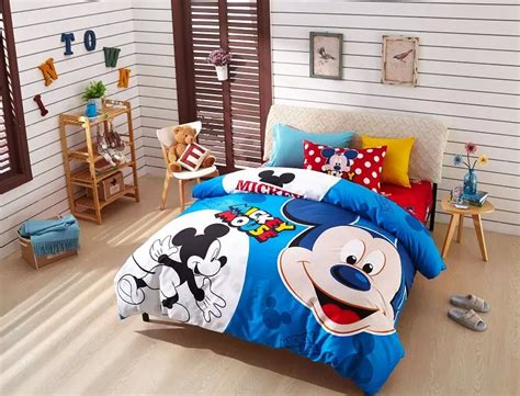 mickey mouse home decor my home blue mickey mouse print bedding set for boys childrens