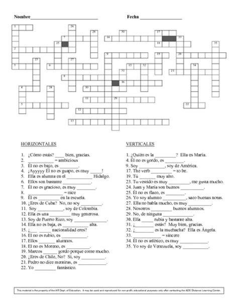 printable basic crossword puzzles number names worksheets 187 basic spanish worksheets free