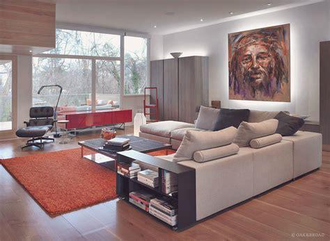 Living Room Futon Decorating Ideas Wide Plank White Oak In Atlanta Modern Home
