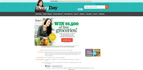 Rachael Ray Magazine Sweepstakes - every day with rachael ray 2 500 grocery sweepstakes