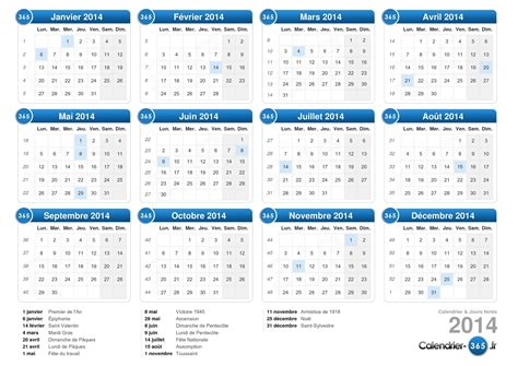 Calendrier Annuel 2014 Calendrier 2014 Semaines