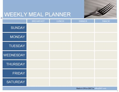 Weekly Meal Planner Template Weekly Meal Planner Template Excel