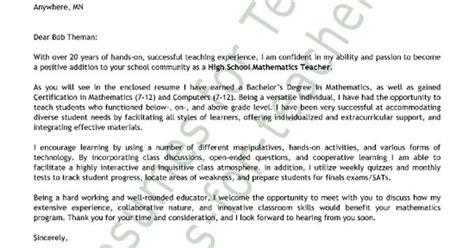math teacher cover letter sle teacher and principal
