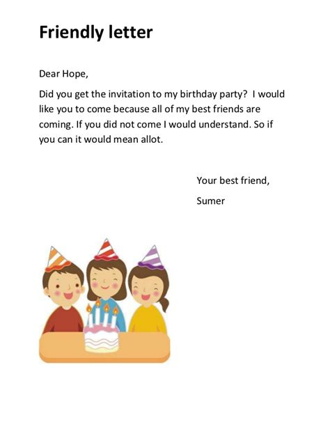 Invitation Letter For Birthday To Friend In Friendly Letter
