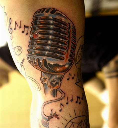 microphone cord tattoo chrome microphone tattoo music is in the air body art