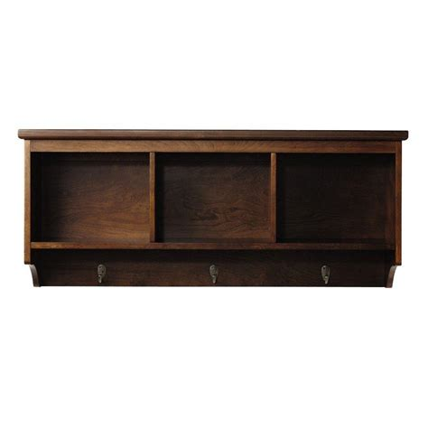 home depot wall shelving home decorators collection wellman 8 5 in w x 38 in l wall shelf with 3 hooks in espresso