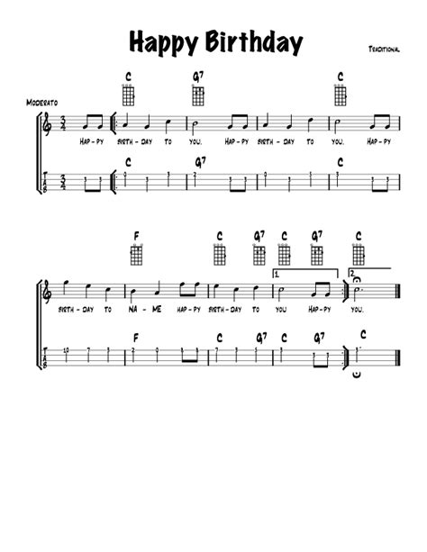 happy birthday song chords guitar easy songs with chords and tab songbook