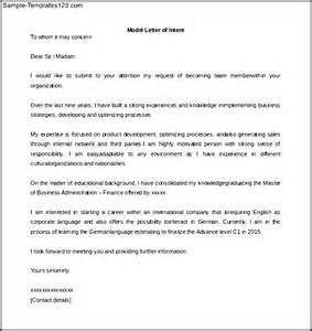 Model Of Cover Letter by Sle Format Letter Of Intent Cover Letter Templates