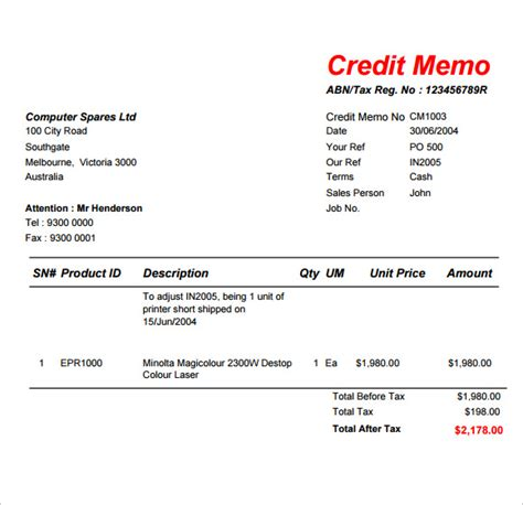 template credit note sle credit memo template 6 free documents