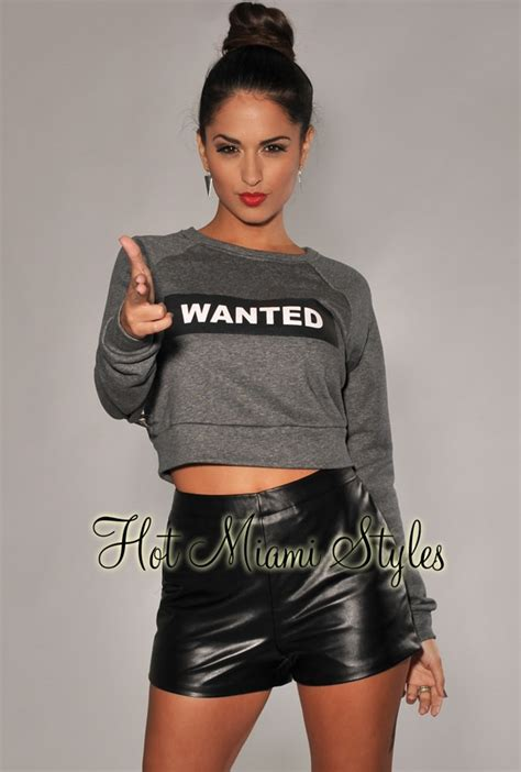Sweater Top charcoal gray quot wanted quot cropped sweater top