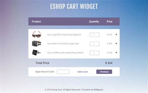 shopping cart template for e shop cart widget a flat responsive widget template