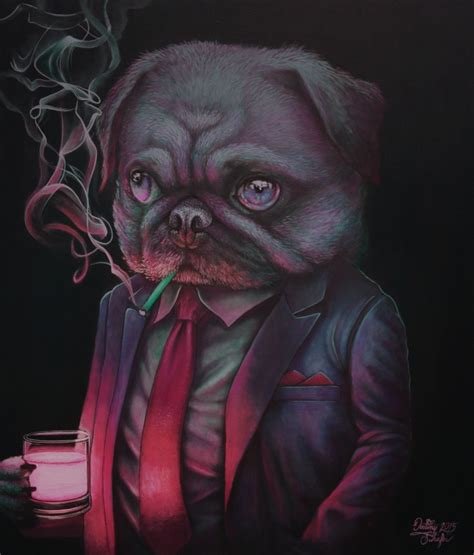 club pug shady club pug painting by straewefin on deviantart