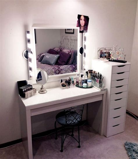 modern vanity makeup table with lights and drawers