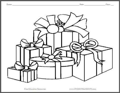 wrapped present coloring page wrapped christmas gifts coloring page student handouts