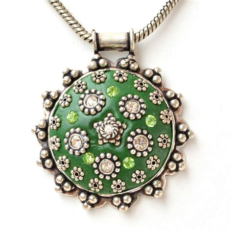 Handmade Pendant - handmade green pendant studded with metal flowers