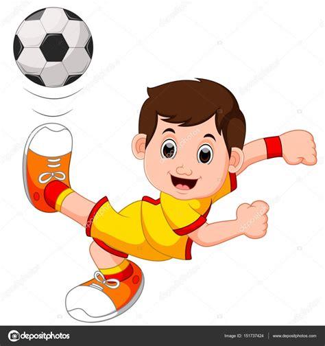 imagenes infantiles niños jugando futbol dibujos animados de ni 241 o jugando al f 250 tbol vector de
