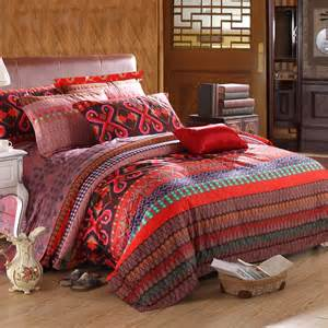 Pattern Bedding Sets Brown And Blue Colorful Tribal Pattern Themed Bohemian Boho Style Unique Luxury
