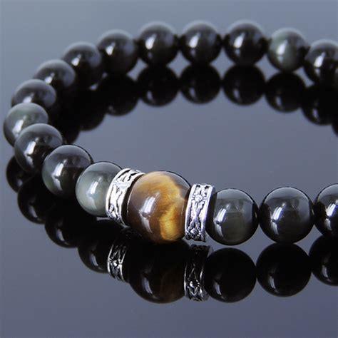 Tiger Eye Gemstone Bracelet handmade gemstone bracelet black obsidian tiger eye