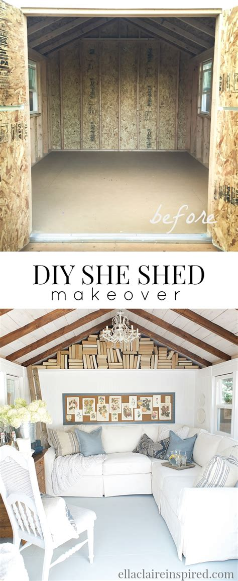 diy she shed she shed reveal ella claire