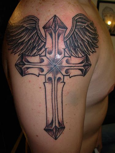 tattoo with cross and angel wings drawings of crosses gallery