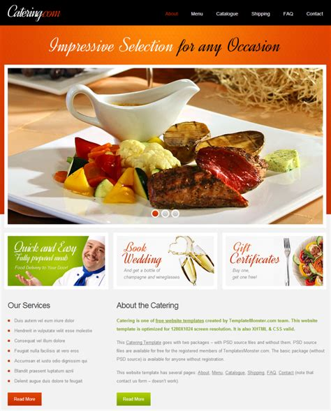 catering website templates free catering template