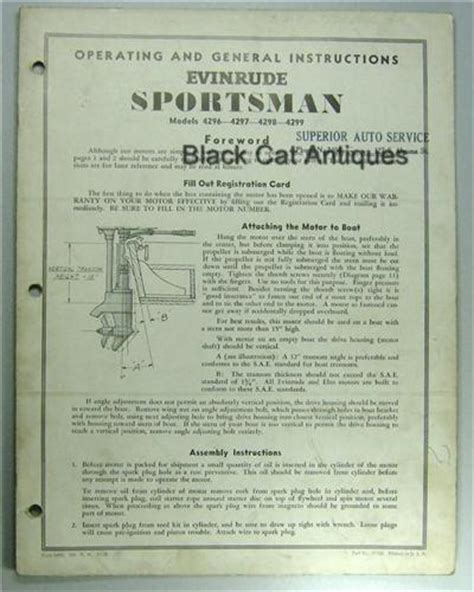 sportsman boats owners manual original owners manual evinrude sportsman outboard motor