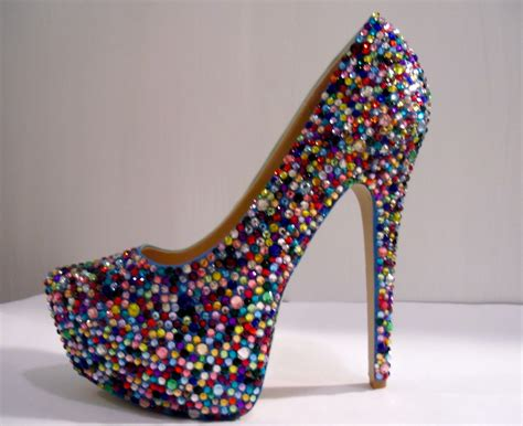 colored heels multi colored rhinestone heels other dresses dressesss