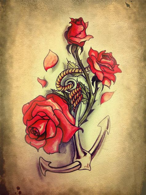 anchor with roses tattoo anchor roses search ideas