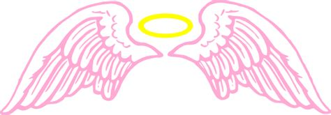 pink angel wings with halo clip art at clker com vector