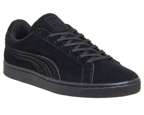 Suede Mono Black mens suede classic black mono badge trainers shoes ebay