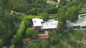 ws zo aerial view of mulholland drive home of actor